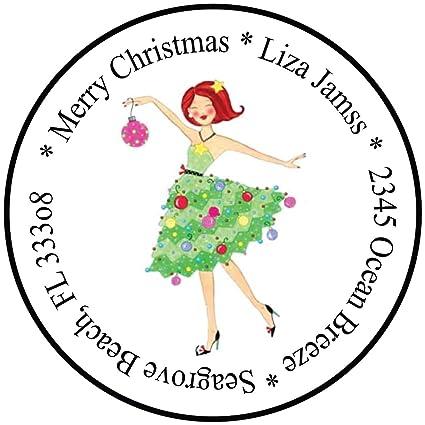 amazon com 72 white 1 67 round christmas address labels holiday