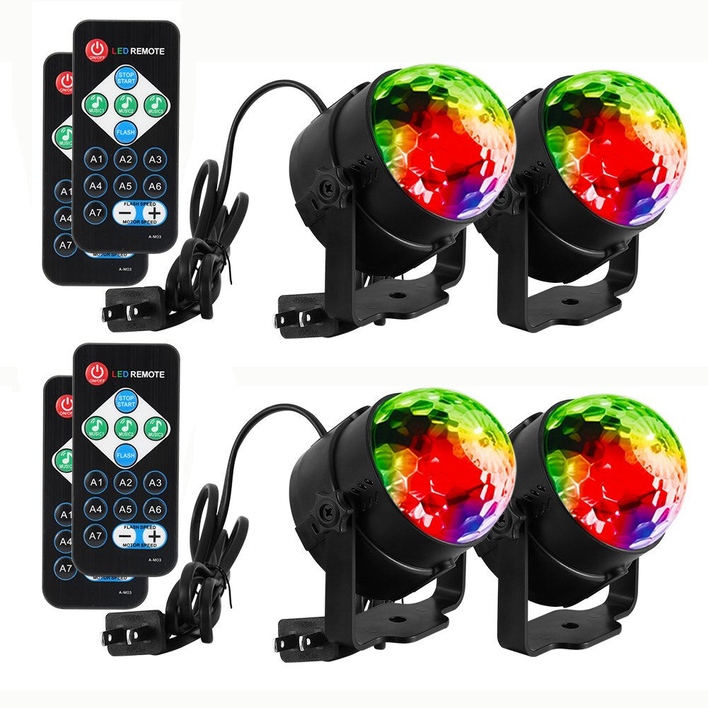 LUNSY Sound Activated Party Lights with Remote Control Dj Lighting, RBG  Disco Ball Light, Strobe Lamp 7 Modes Stage Par Light for Home Room Dance