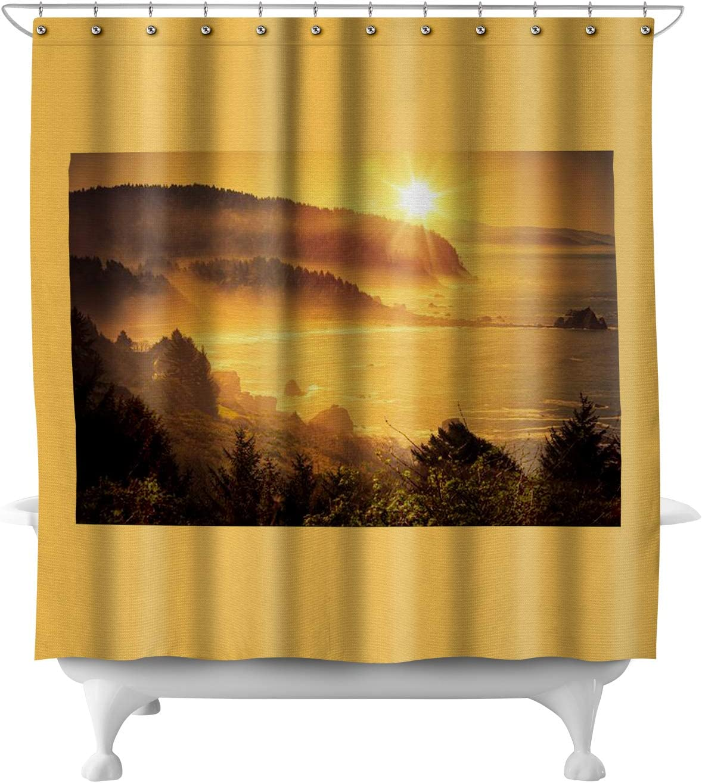 Lantern Press Golden California Coastal Sunset with Misty Fog 9016032 (71x74 Polyester Shower Curtain)