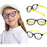 Leaead Blue Light Blocking Glasses BluErase Lens Silicone Frame Anti Eyestrain Computer/Gaming/TV/Phones Glasses for Kids(Dar