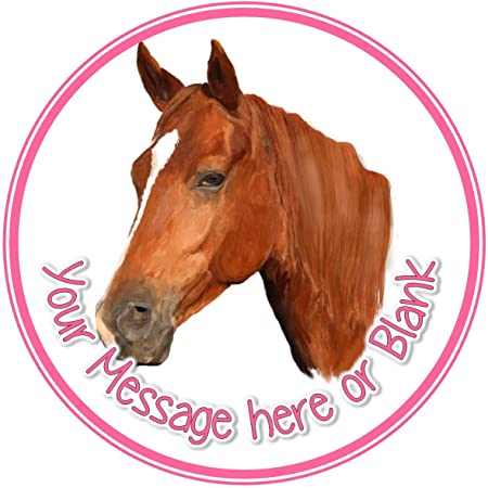 Horse Head Birthday Personalised Round Cake Topper approx 75 or