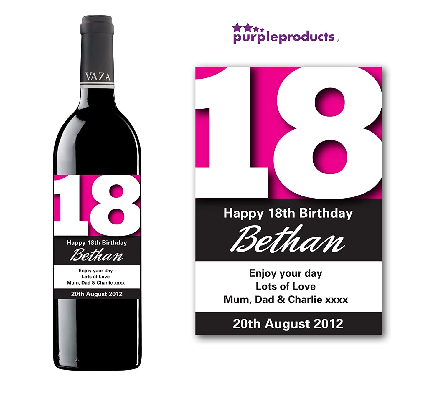 Personalised Pink 18th Birthday Wine Bottle Label Gift for Women and Men