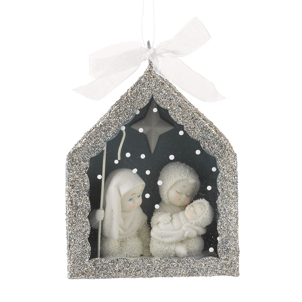 "Department 56 Snowbabies ""Nativity"" Shadow Box Porcelain Ornament, 5"""