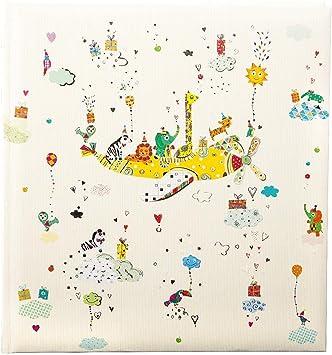 Animal Train 60 wei/ße Blankoseiten mit 4 illustrierten Seiten und Pergamin-Trennbl/ättern Leinen und Kunstdruck mit goldpr/ägung und Relief goldbuch Babyalbum 30 x 31 cm Blau 15418
