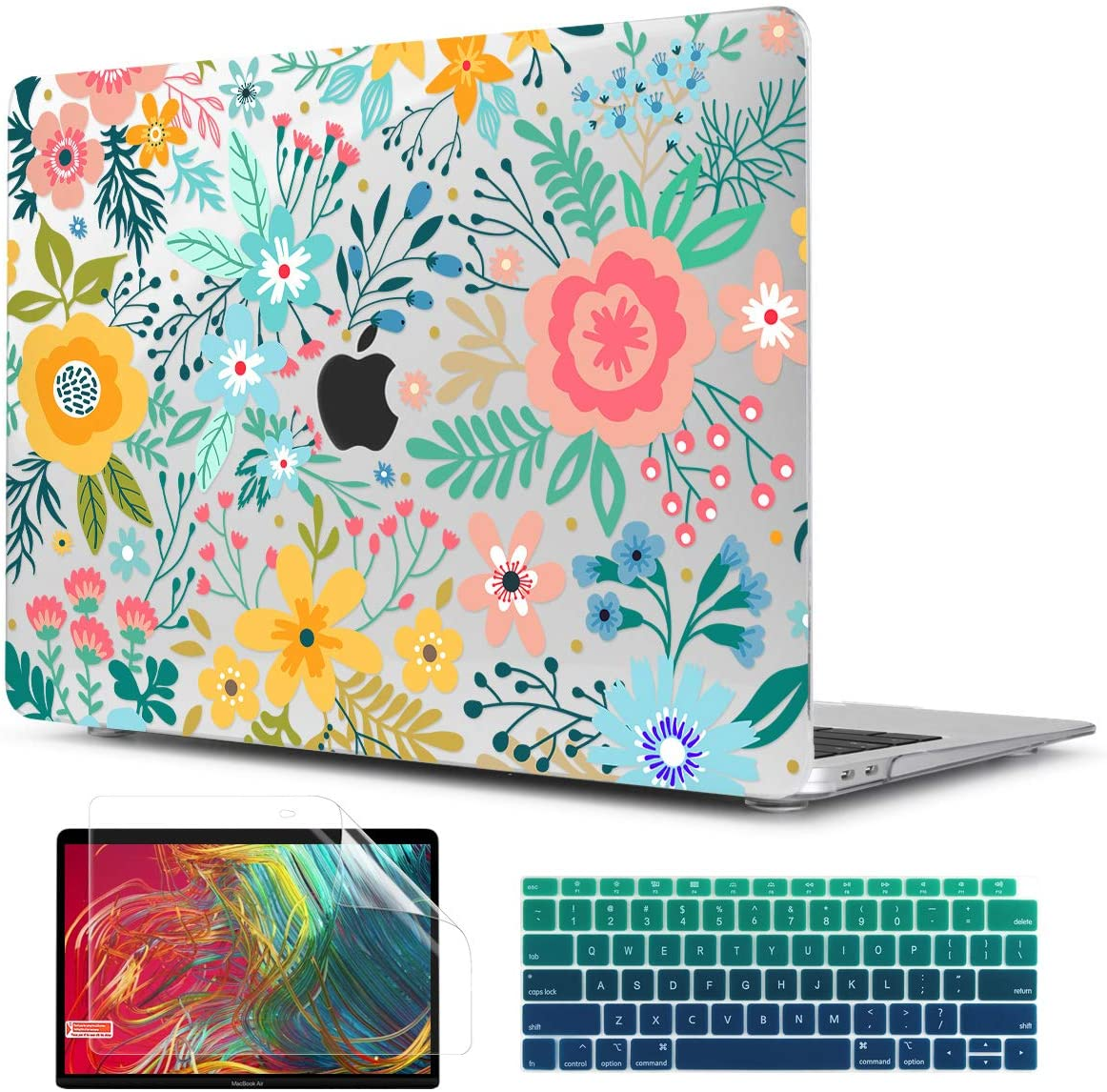 TwoL MacBook Air 13 inch 2020 2018 Case A1932 A2179 with Retina Display, Plastic Hard Shell Case Cover and Silicone Keyboard Skin & Screen Protector, Abstract Flower