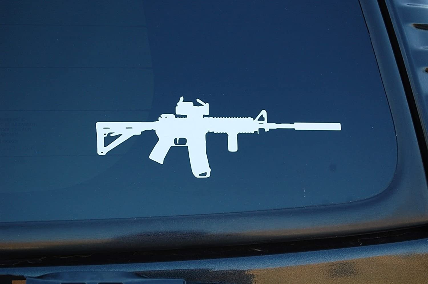"AR15 M4 Gun Sticker Vinyl Decal Choose Size & Color!! NRA Assault Rifle (V372) (5"", White)"