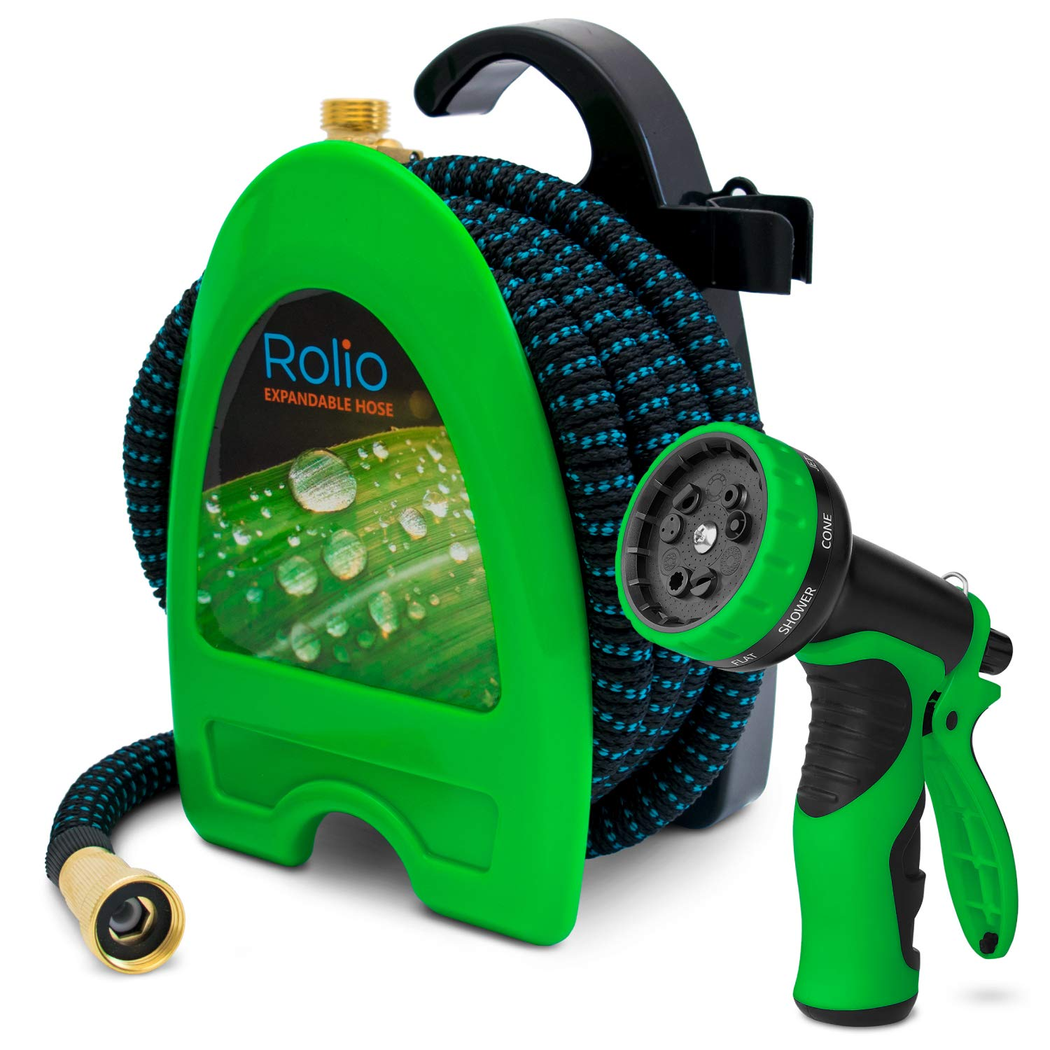 "Rolio Expandable Garden Hose with Hose Reel - 75 FT Garden Hose with 9 Function Spray Nozzle Included, 3/4"" Solid Brass Fittings, No Kinks"