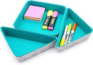 Welaxy Felt drawer organizer trays desktop organizer bins storage bin 3 pack (marrs green)