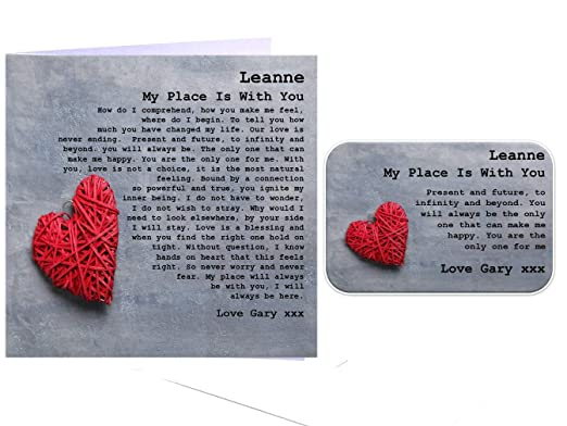 Tarjeta de amor romántico poema y cartera Set de regalo ...
