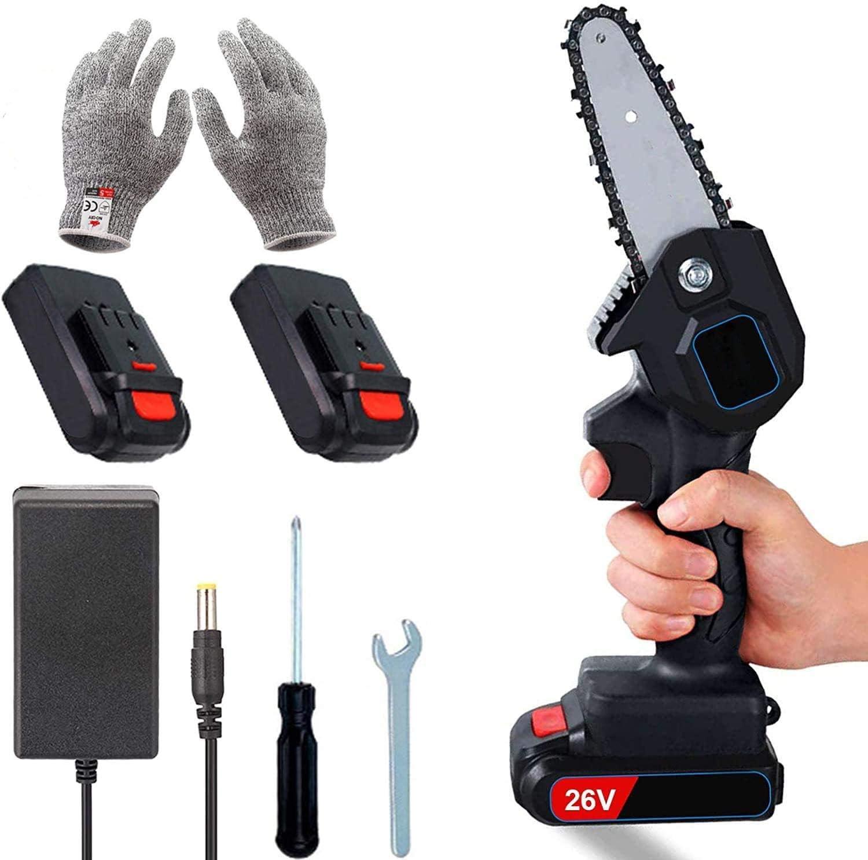 Mini sierra eléctrica de 4 pulgadas, 2 baterías y motor de cadena sin escobillas, sierra de mano eléctrica de 26 V, ligera de 0,7 kg, sierra eléctrica para cortar madera