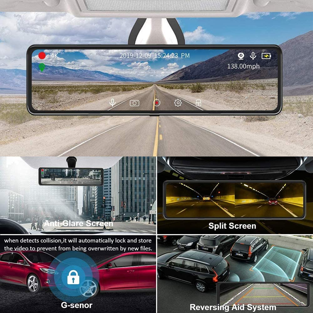 """8MP Sony Sensor for Super Night Vision with Parking Assistance Camecho 4K Mirror Dash Cam for Cars Voice Control 12/"""" Full Touch Screen Rear View Mirror Camera 2.5K Rearview Camera"""