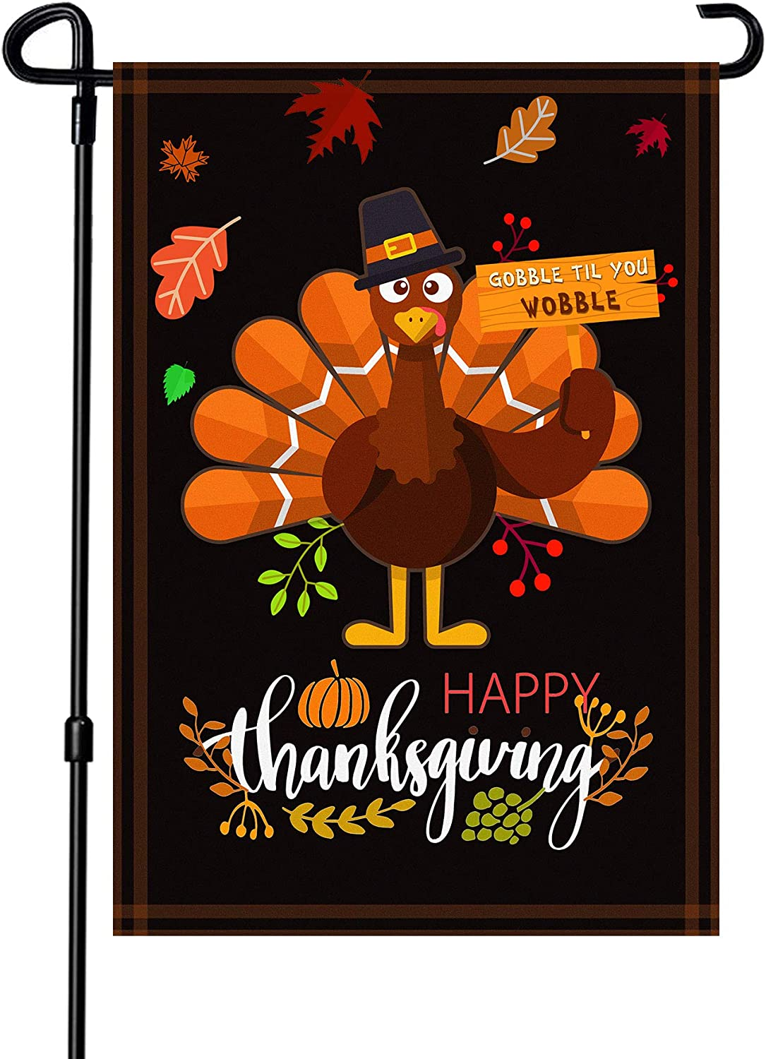 BOUTIQUE_GOODS Thanksgiving Garden Flag,Happy Thanksgiving Flags 12.5 x x 18 Inch Thanksgiving House Flag Double-Sided 2 Layer Thanksgiving Turkey House Flag for Thanksgiving Decoration