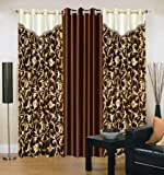 Super India Floral 3 Piece Polyester Window Curtain Set - 5ft, Brown