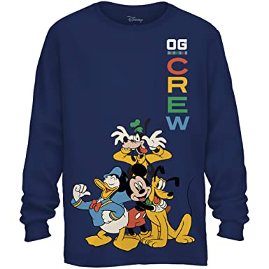 11a42fbdc Amazon.com: Disney Mickey Mouse Donald Duck Goofy Pluto Front Back Print  Disneyland World Funny Graphic Adult Men's Long Sleeve T-Shirt: Clothing