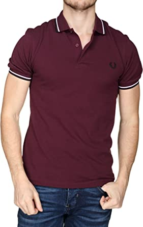 Fred Perry Hombres Polo con Punta Doble m3600 i74 Rojo Oscuro ...