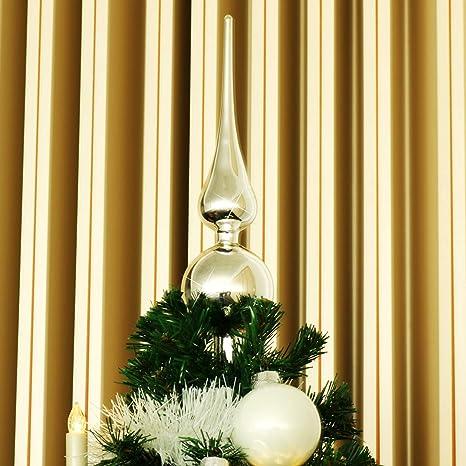 com-four® Tapa de árbol de Navidad en Oro Mate, Tapa de árbol de Navidad Hecha de Cristal Real para Navidad, Tapa de Abeto para tu árbol de Navidad, ...