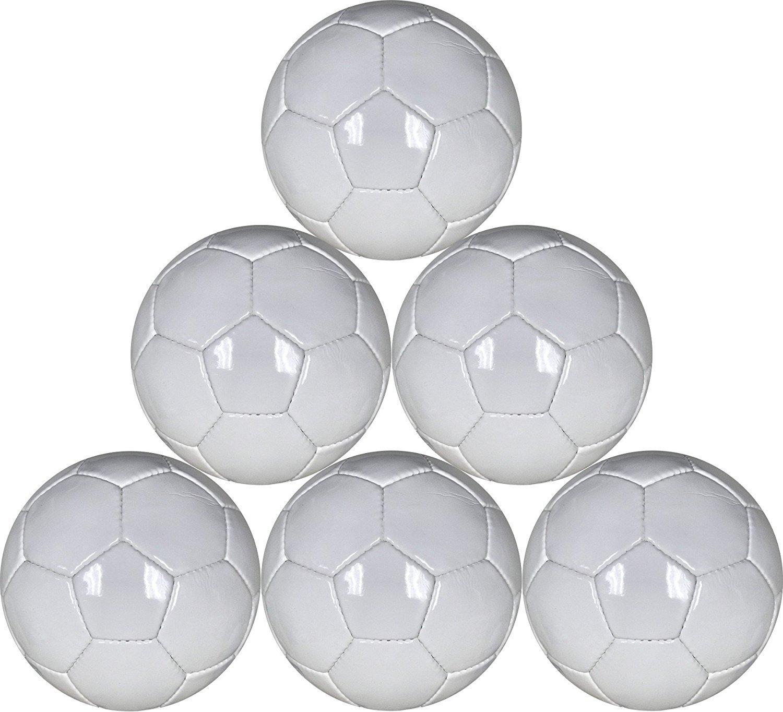 ホワイトMini Soccer Balls 6パックサイズ1 for Practice and Kids – 48 cm円周 B079KLK8ZG