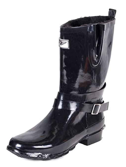 Women Mid-Rise Rubber Rain Boots w/ Warm Faux Fur Lining