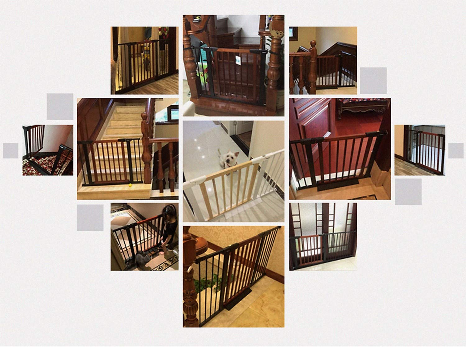 Baby Gate/Baby Gate for Stair with Banisters/Pet Gate, Fit Stairway or Doorway, Extendable, Auto Close, Pressure Mount (Wooded) by KINGBO (Image #7)