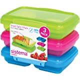 Sistema Lunch Collection Split Food Storage Containers, 1.5 Cup, Set of 3 in Assorted Colors
