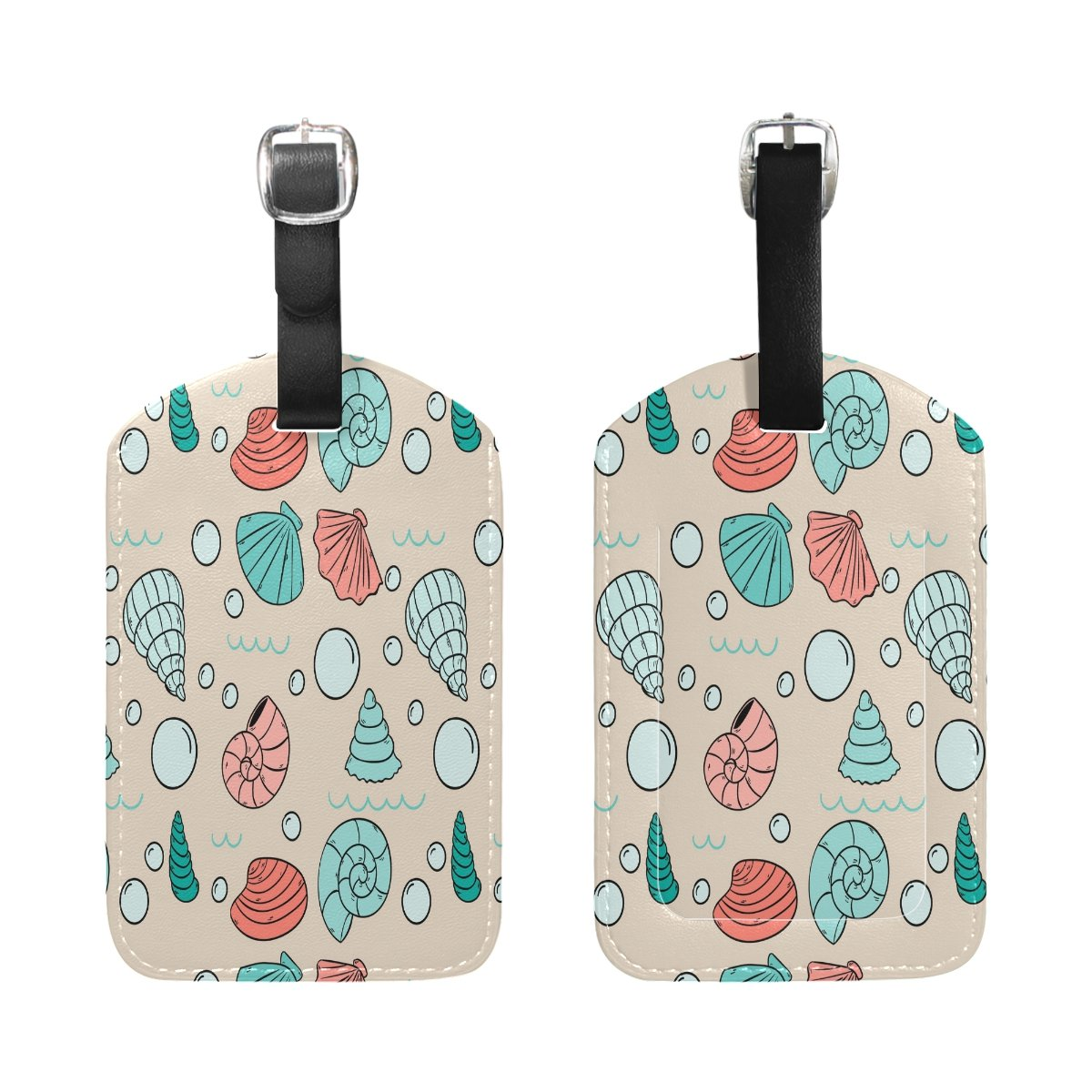 1Pcs Saobao Travel Luggage Tag Snails And Shells PU Leather Baggage Suitcase Travel ID Bag Tag