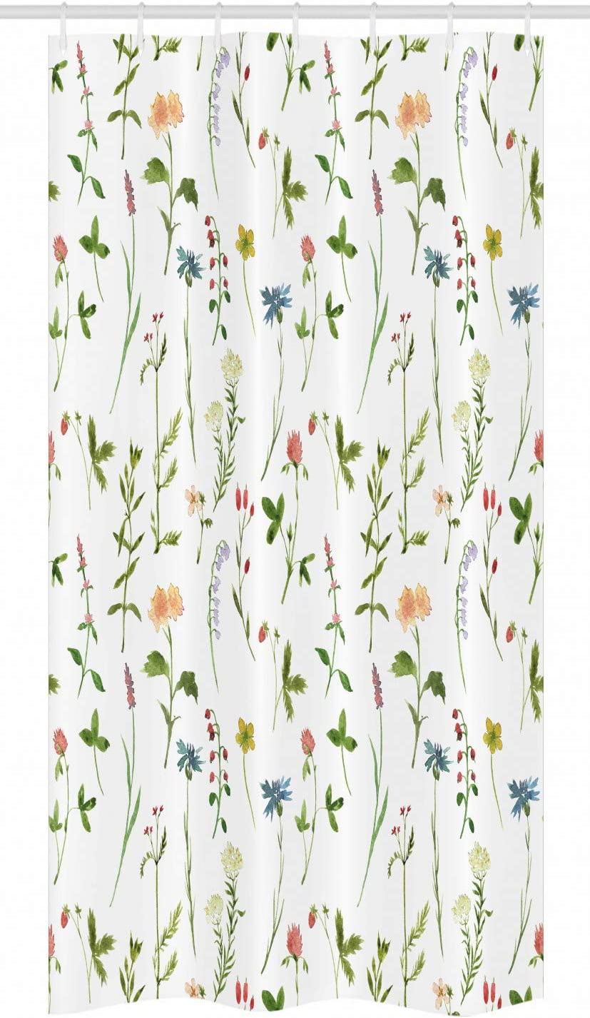 Ambesonne Floral Stall Shower Curtain, Spring Season Themed Watercolors Painting of Herbs Flowers Botany Garden Artwork, Fabric Bathroom Decor Set with Hooks, 36