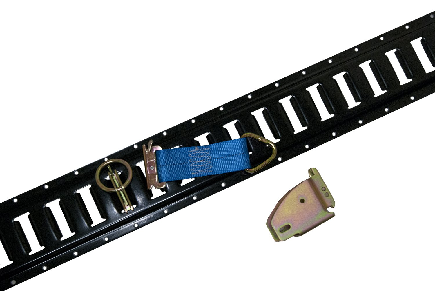 (12) 5' Black E-Track with 12 Wood Beam Sockets, 12 Tie Downs, and 12 O rings