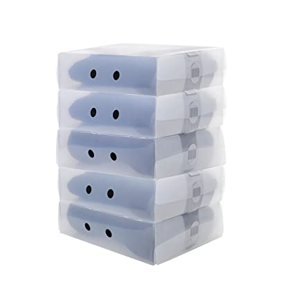 UUHOME 5 x Cajas para Botas Plegables de Plástico, 41 x 29 x 11cm,
