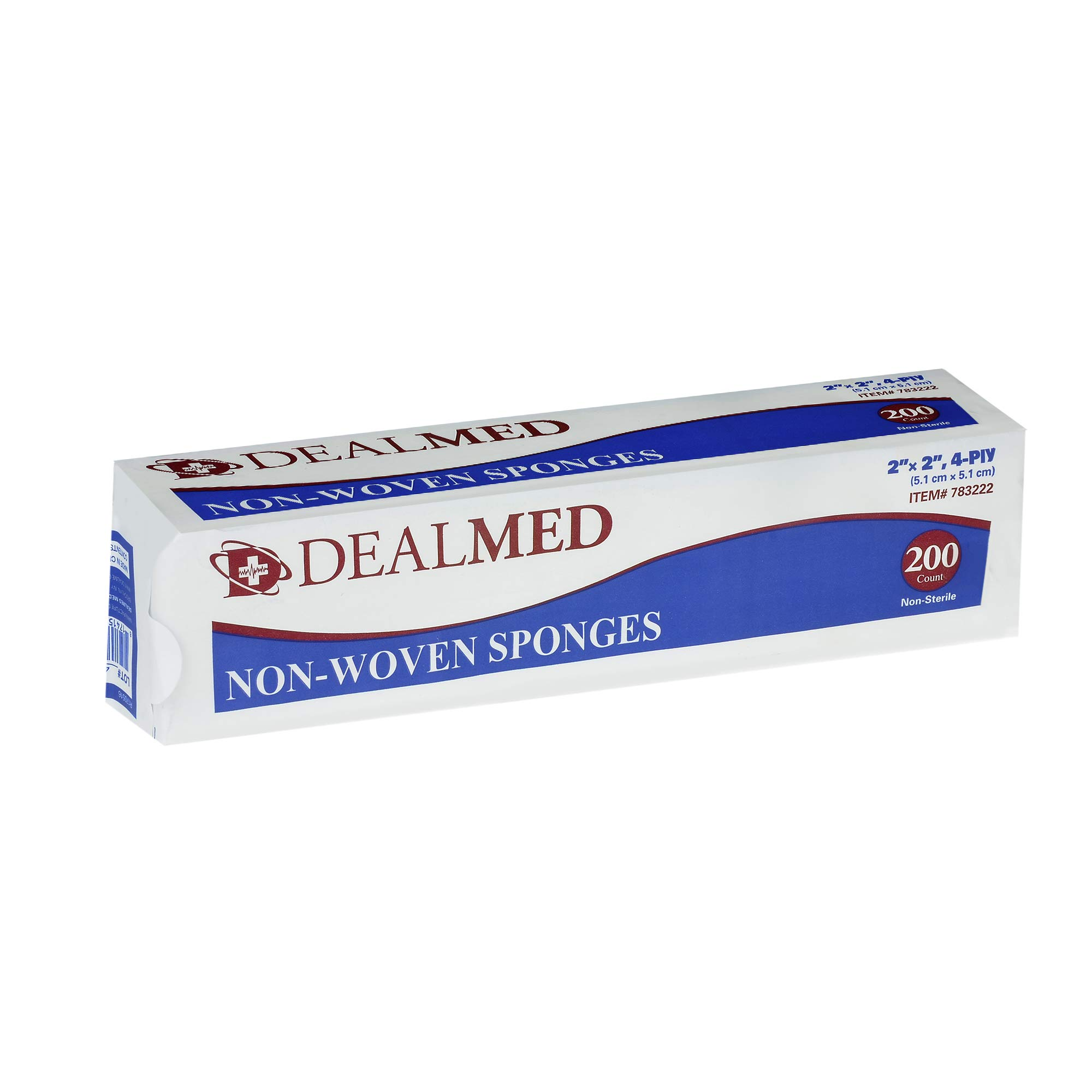 Dealmed Gauze Pads, Non-Sterile, Non Woven, 2'' x 2'', 4 Ply, 200/Bx