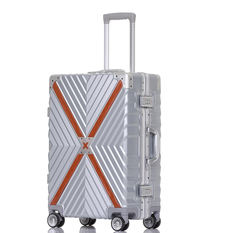 クロース(Kroeus) スーツケース 4輪ダブルキャスター 静音 アルミフレーム 大容量 軽量 人気 キャリーケース 旅行 出張 TSAロック搭載 多段階調節キャリーバー コーナープロテクト B078S1MRNY L|シルバー シルバー L