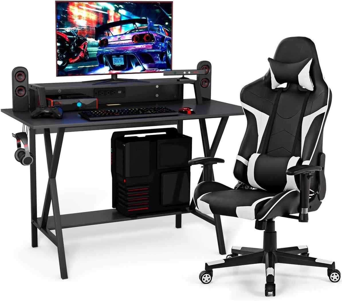 Tangkula Gaming Desk and Chair Set, Ergonomic E-Sport Gamer Desk & Racing Chair Set w/Cup Holder, Monitor Stand, Earphone Hook, Massage & Headrest, Home Office Computer Desk Chair Set (White)