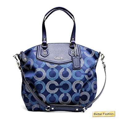 20346ea5df COACH Ashley Signature Op Art N/S Tote - Navy/Deep Ink: Handbags: Amazon.com