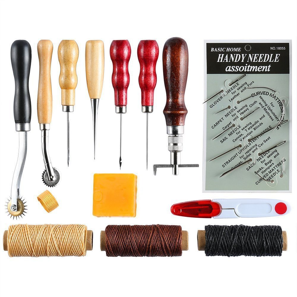 14 Pieces Leather Tools Leather Craft Stitching Tools Sewing Kits Awl Thimble Waxed Thread by Melhope