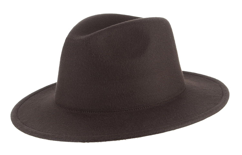 Gemvie Men's Warm Wool Blend Dent Trilby Flat Brim Fedora Hat