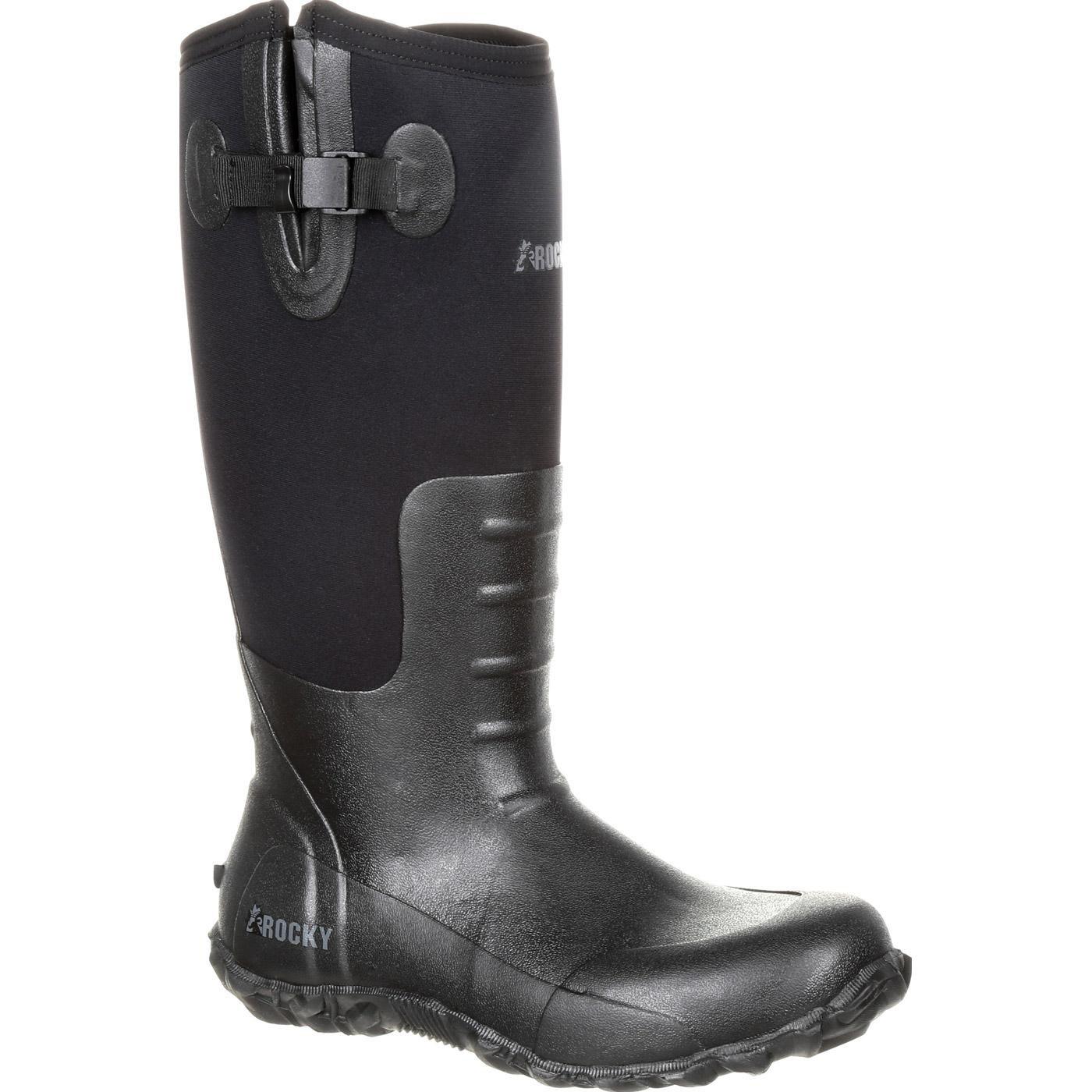 ROCKY Men's Core Black Rubber Waterproof Outdoor Boot Knee High, Mossy Oak Break Up Country, 10 M US
