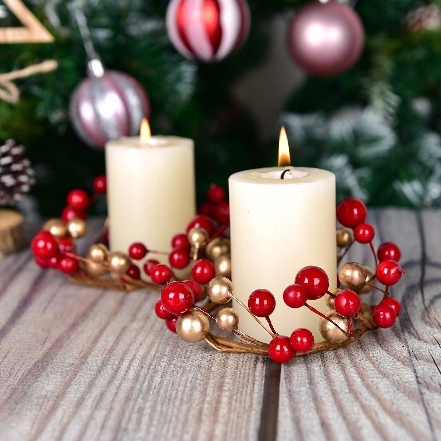 Decorative Glass Tealight Candle Holder for Home Living Room and Bedroom Decor DearHouse 6 Pcs Christmas Votive Candle Holder Rings with with Red Gold Berry Candle Ring Wedding