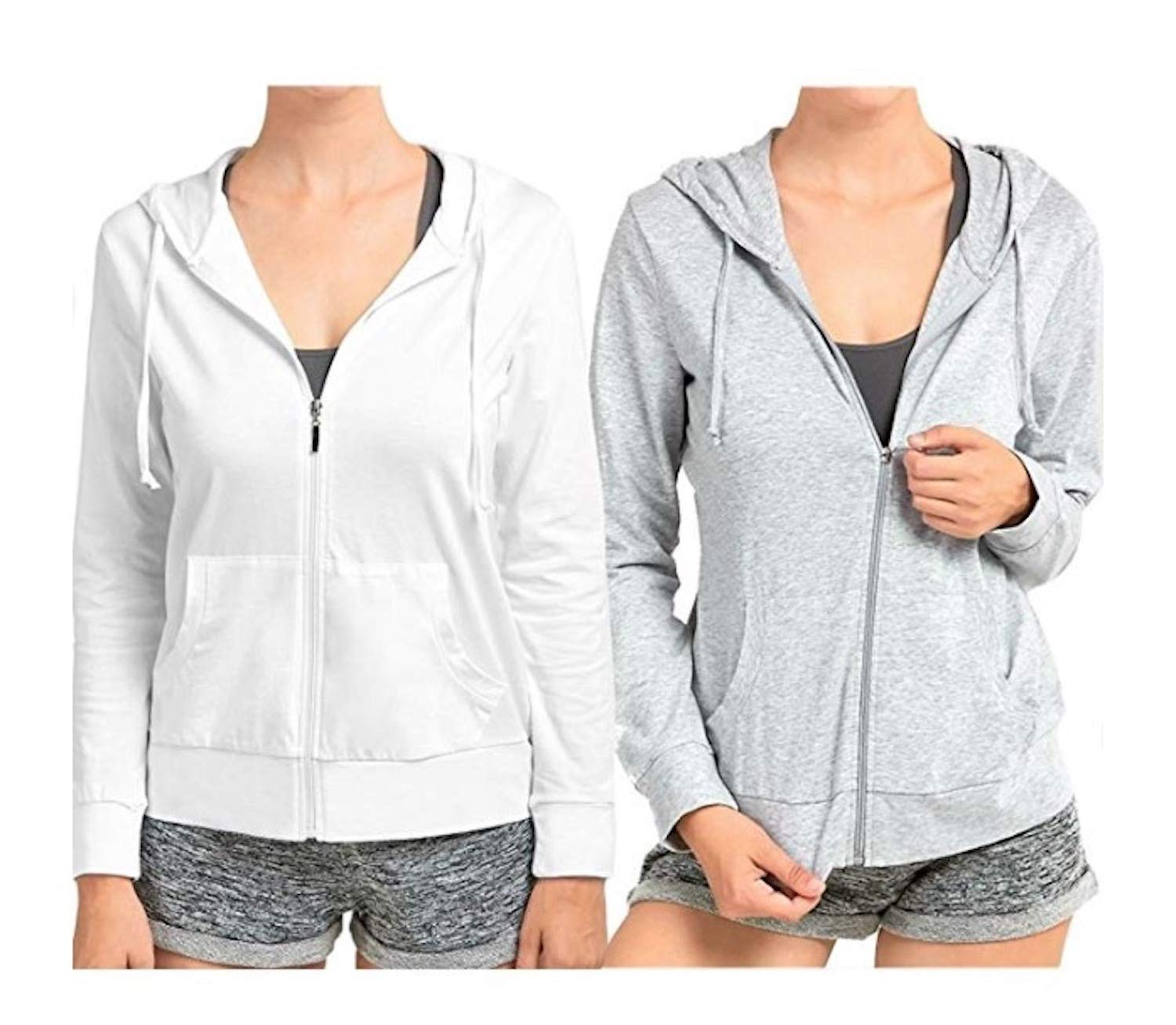 Sofra Women's Thin Cotton Zip up Hoodie Jacket (LRG,h.Grey/White) by Sofra (Image #1)