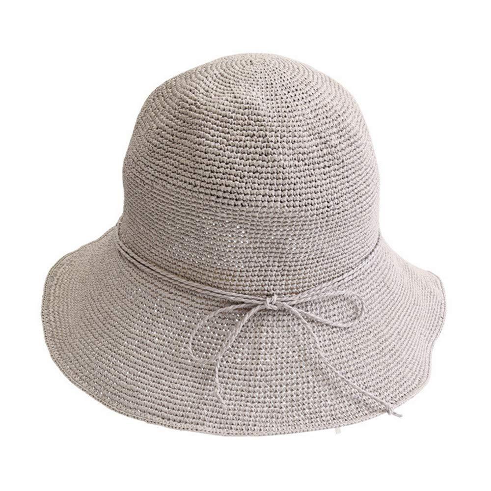 Mzdpp Sombrero De Paja Fresco Plegables Sol Playa Sol Vacaciones Sol Protección Sol Plegables Sombrero Simple Gris e16965