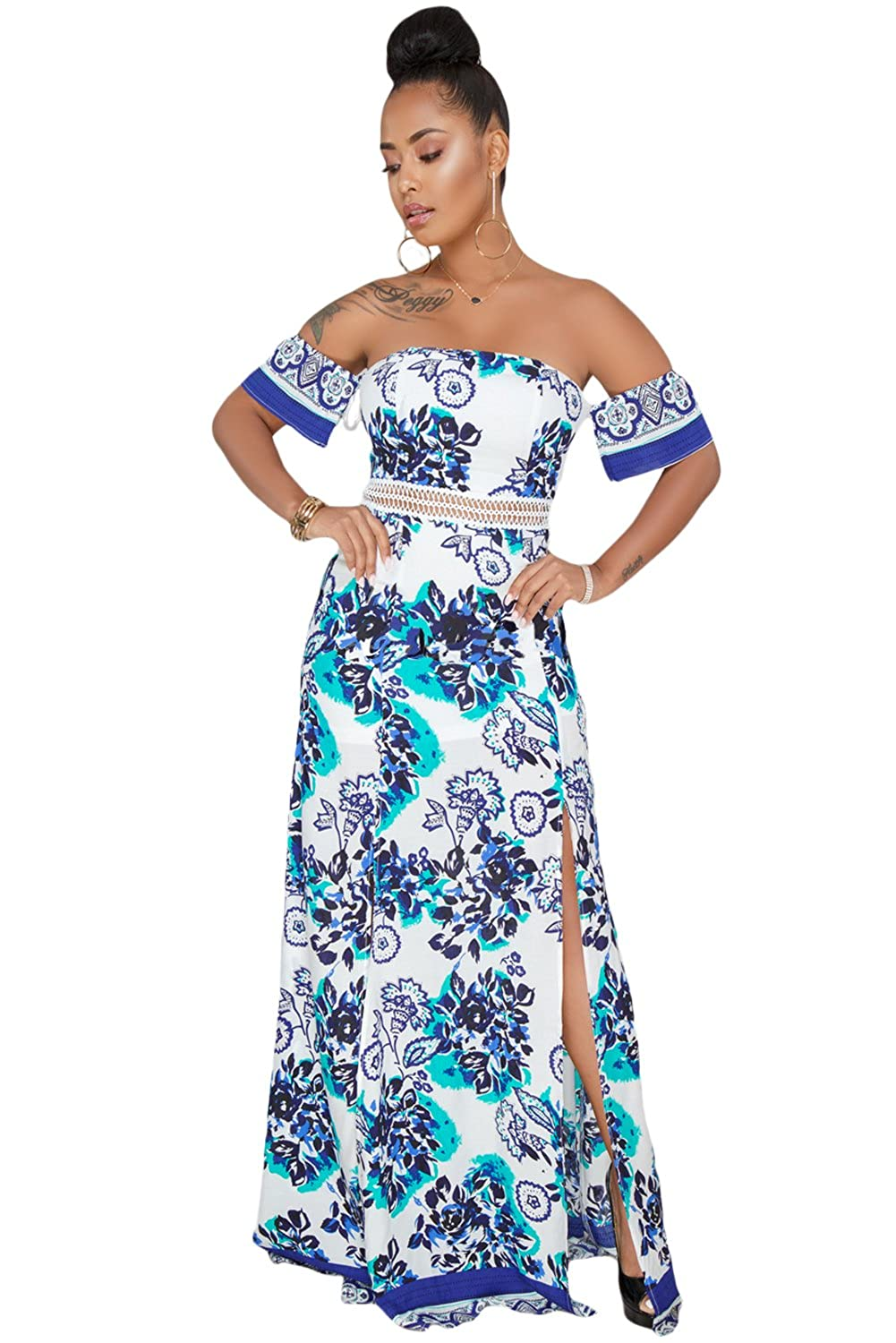 0c7d72c50a5 Evercloths Women s Western Wear Floral Print Off Shoulder Dress  (Blue Small)  Amazon.in  Clothing   Accessories
