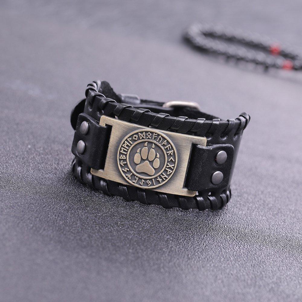 Skyrim Viking Fenrir Wolf Footprints 24 Amulet Runes Talisman Braided Wide Leather Wristband Bracelet