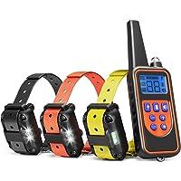 TZLong Collar adiestramiento Perros, 800m de Resistencia al Agua Entrenador de Mascotas con 4 Funciones para Grandes/pequeños/Medio Perros 3 Collares