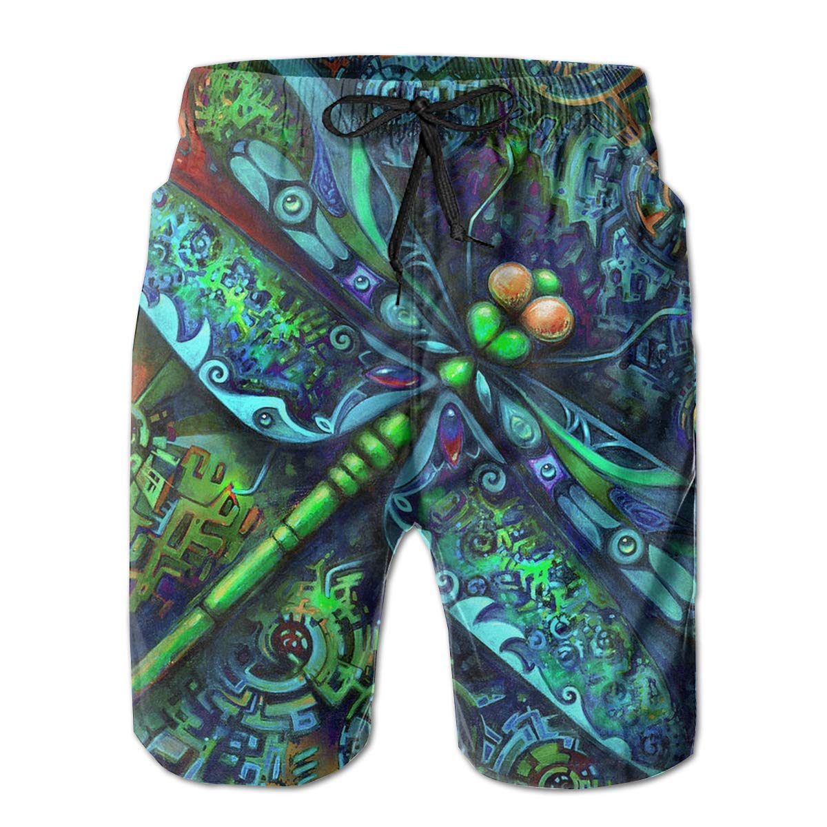Mens 3D Print Indian Mandala Dragonfly Insects Animal Casual Classic Drawstring Loose Fit Trunks Boardshort Shorts