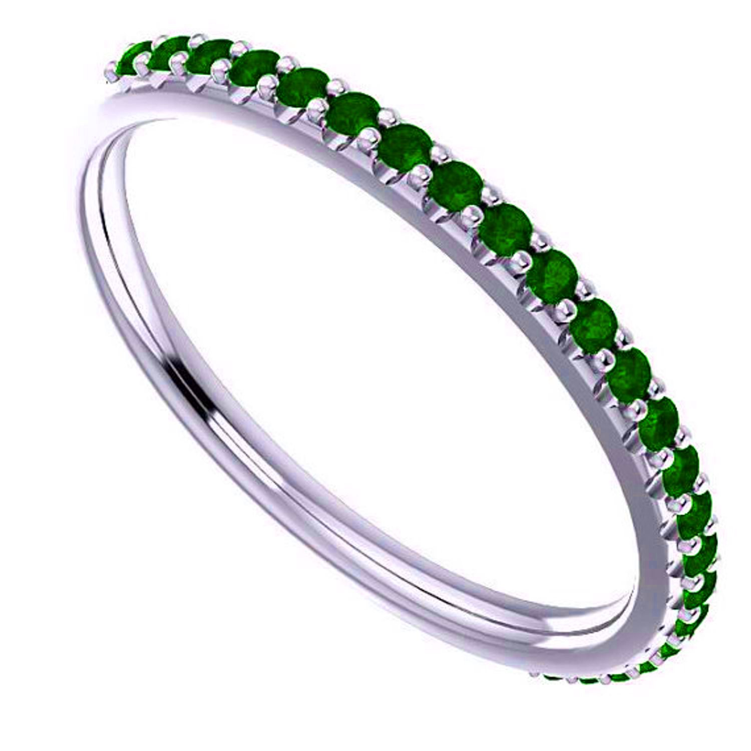 Beautiful 0.50 Carat Natural Emerald Stackable Band Ring In 14K White Gold