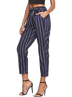 aa143c4cb8 SheIn Women's Ruffle Tie Waist Pants with Pockets at Amazon Women's ...