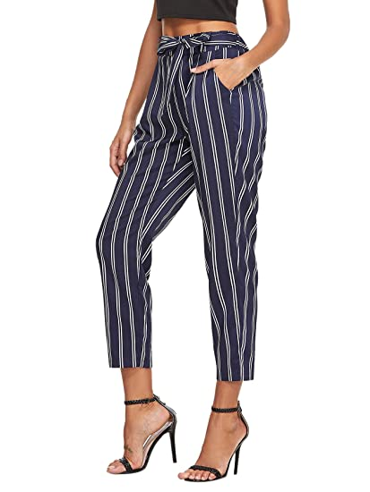 22df7ad613 SheIn Women's Self Belt Elastic Waist Striped Pants with Pockets Large Navy  at Amazon Women's Clothing store: