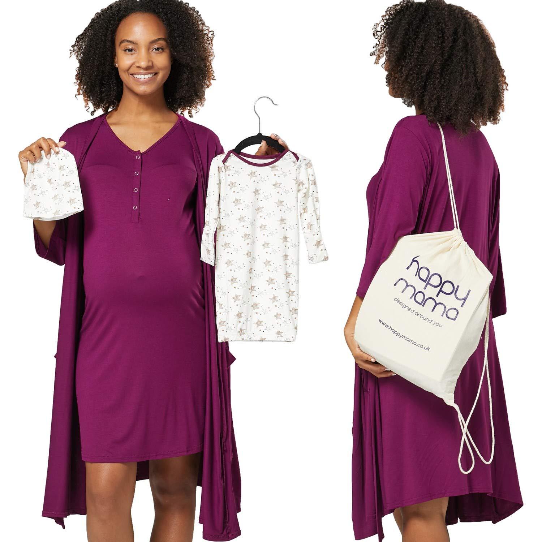 HAPPY MAMA Womens Maternity Nursing Nighty Baby Mama Matching 5 pcs Set 1010 (Purple, US 8/10, L) by HAPPY MAMA