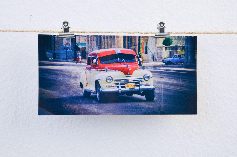 Postkarten XXL Panorama Kuba Havanna Chevy
