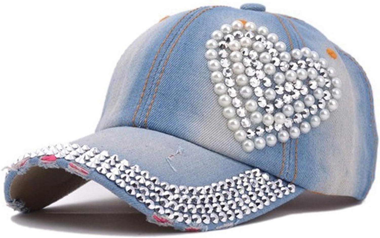 HEWPASKE Fashion Women Girls Outdoor Hats Heart Rhinestone Denim Baseball Cap Accessories