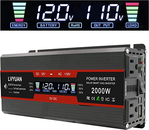 IpowerBingo Power Inverter 800W//2000W Dual AC Outlets and Dual USB Charging Ports DC 12V to 110V AC Car Converter with Digital Display