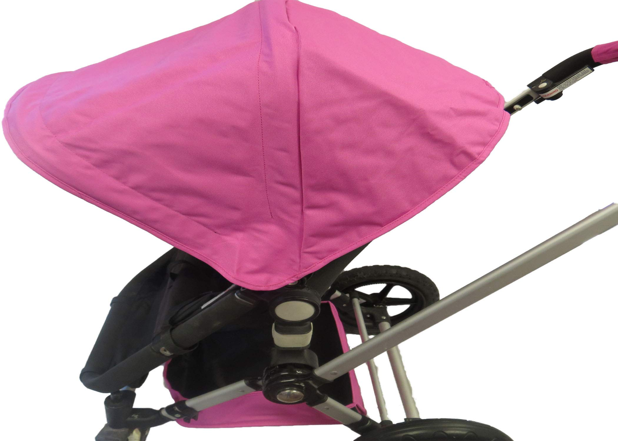 Pink Sun Shade Canopy with Wires and Under Seat Storage Basket Plus Free Handle Bar Covers for Bugaboo Cameleon 1, 2, 3, Frog Baby Child Strollers